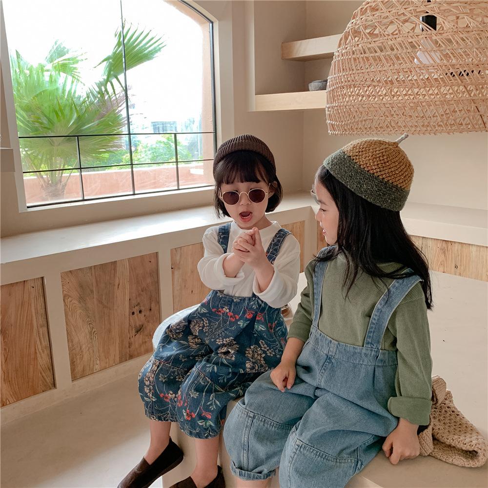 韓国風子供服 韓国ファッション  可愛い  オーバーオール 秋服  花柄 デニム