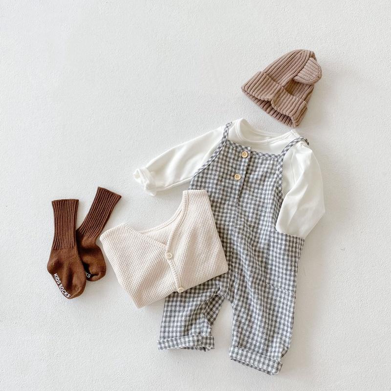 【KID】韓国風子供服 ベビー服  男女兼用 おしゃれ 長袖 セットアップ チェック柄