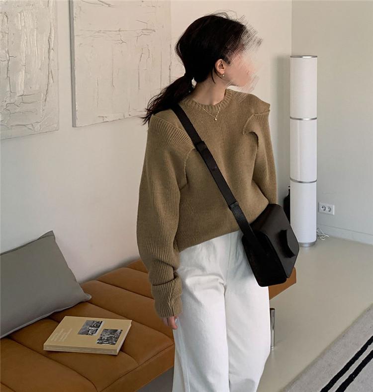 韓国ファッション 女性 レトロ 暖かさ ニットトップス オフショルダー ピュアカラー セーター